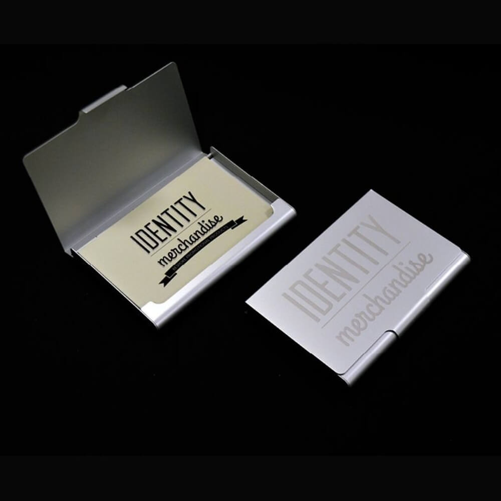 Branded business card holder identity merchandise aluminium business card holder reheart Gallery