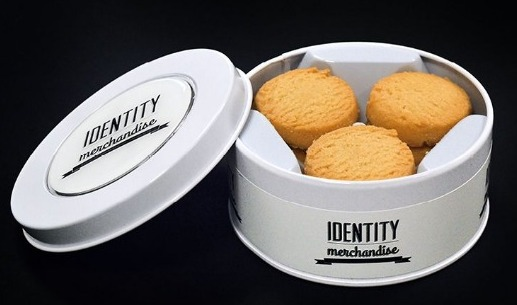 Close-up of bespoke biscuit tin